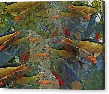 Canvas Print featuring the mixed media Koi Pond With Reflections 9 by Lynda Lehmann