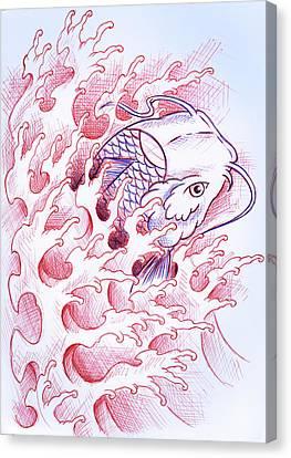 Koi Tattoo Sketch Canvas Print