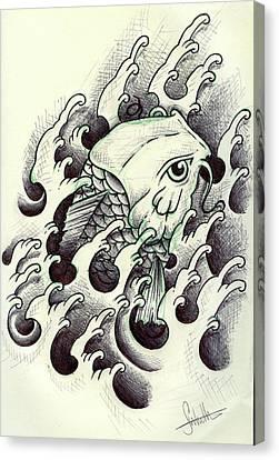 Biro Art Canvas Print - Koi Through The Water by Samuel Whitton
