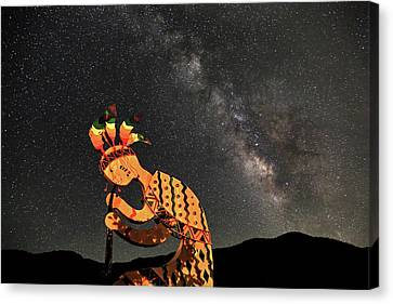 Kokopelli And The Milky Way Canvas Print by Donna Kennedy