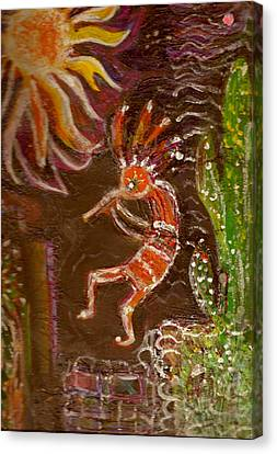 Kokopelli And The Sunny Moon Canvas Print by Anne-Elizabeth Whiteway