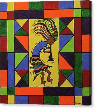 Kokopelli Dance Canvas Print by Susie WEBER