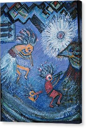 Kokopelli Dancers And Big Bird Canvas Print by Anne-Elizabeth Whiteway