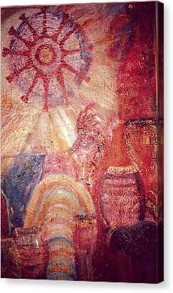 Kokopelli Extravaganza Canvas Print by Anne-Elizabeth Whiteway