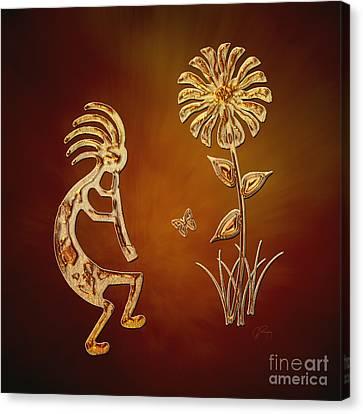 Kokopelli - Flower Serenade Canvas Print