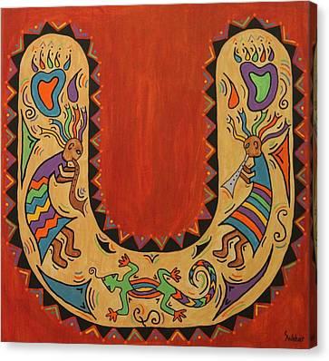 Kokopelli Horseshoe Canvas Print by Susie WEBER