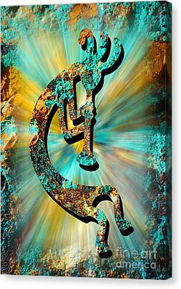 Kokopelli Turquoise And Gold Canvas Print