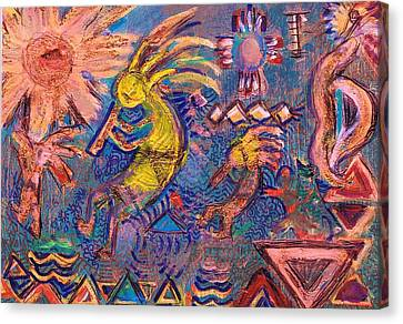 Kokopellis Gone Crazy In The Noonday Sun Canvas Print by Anne-Elizabeth Whiteway