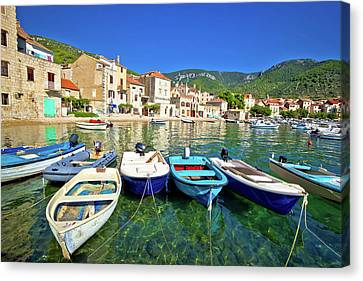 Komiza On Vis Island Turquoise Waterfront Canvas Print by Brch Photography