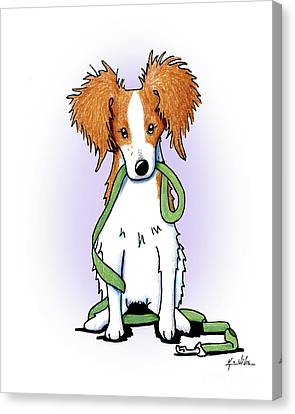 Kooikerhondje With Leash Canvas Print by Kim Niles