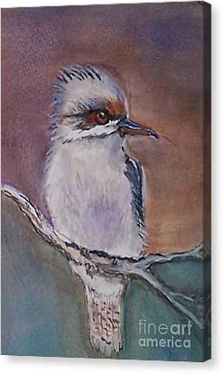 Canvas Print featuring the painting Kookaburra Fancy by Leslie Allen