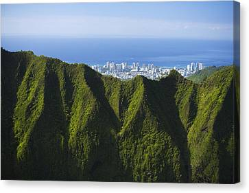 Koolau Mountains And Honolulu Canvas Print by Dana Edmunds - Printscapes