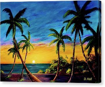 Ko'olina Sunset On The West Side Of Oahu Hawaii #299 Canvas Print by Donald k Hall