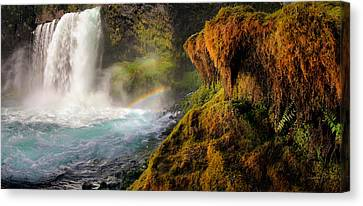 Koosah Falls Panoramic Canvas Print by Leland D Howard