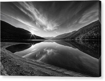 Kootenay Lake Sunrise Black And White Canvas Print