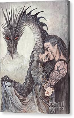 Kor-gat And Black Dragon Canvas Print by Morgan Fitzsimons