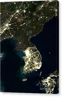 Korean Peninsula Canvas Print by Planet Observer and SPL and Photo Researchers