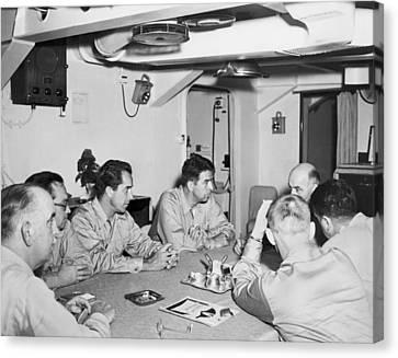 Korean War Correspondents Canvas Print by Underwood Archives