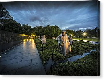 Canvas Print featuring the photograph Korean War Memorial by David Morefield