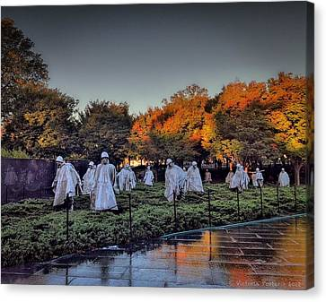 Korean War Memorial In Washington Dc Canvas Print