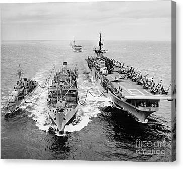 Korean War: Ship Refueling Canvas Print by Granger