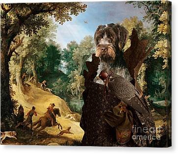 Griffon Canvas Print - Korthals Pointing Griffon Art Canvas Print - The Hunters And Lady Falconer by Sandra Sij