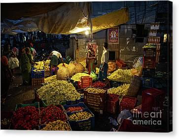 Canvas Print featuring the photograph Koyambedu Chennai Flower Market Predawn by Mike Reid