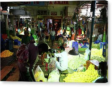 Canvas Print featuring the photograph Koyambedu Flower Market Stalls by Mike Reid