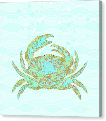 Blue Claw Crab Canvas Print - Kramer Crab Amidst The Ocean Waves by Tina Lavoie