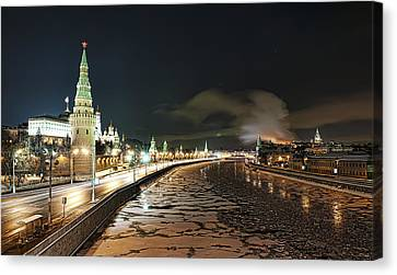 Canvas Print featuring the photograph Kremlin View by Gouzel -