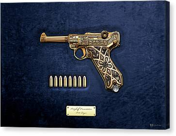 Krieghoff Presentation P.08 Luger With Ammo Over Blue Velvet  Canvas Print by Serge Averbukh