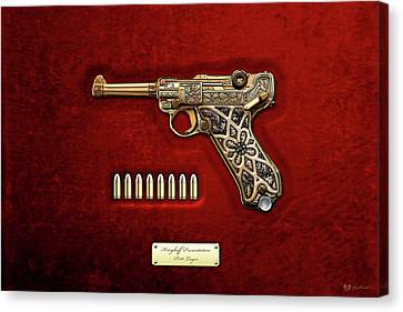 Krieghoff Presentation P.08 Luger With Ammo Over Red Velvet  Canvas Print by Serge Averbukh