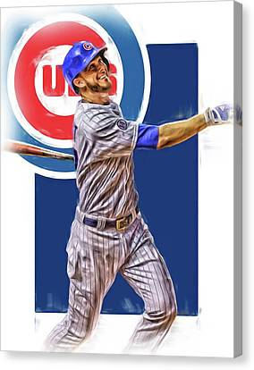 Kris Bryant Chicago Cubs Oil Art Canvas Print by Joe Hamilton
