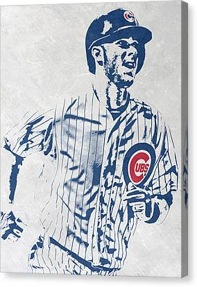 Bat Canvas Print - kris bryant CHICAGO CUBS PIXEL ART 2 by Joe Hamilton
