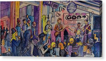 Canvas Print featuring the painting Kris Lager Band At The Goat by David Sockrider