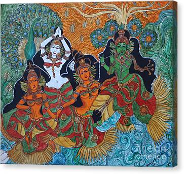 Canvas Print featuring the painting Krishna And Gopika by Saranya Haridasan
