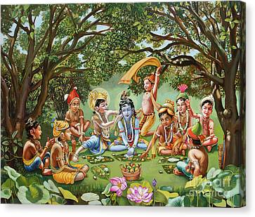 Krishna Eats Lunch With His Friends With No Bordure Canvas Print by Dominique Amendola