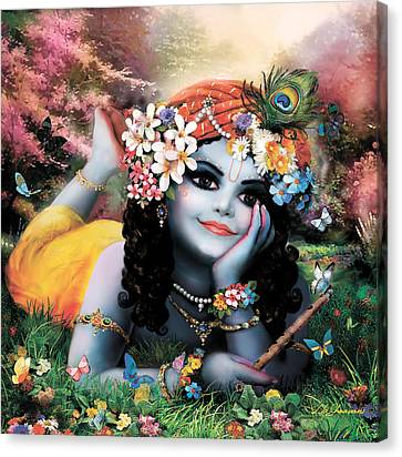 Krishna-sky Boy Canvas Print by Lila Shravani