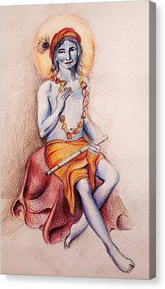 Krishna With A Flower Canvas Print