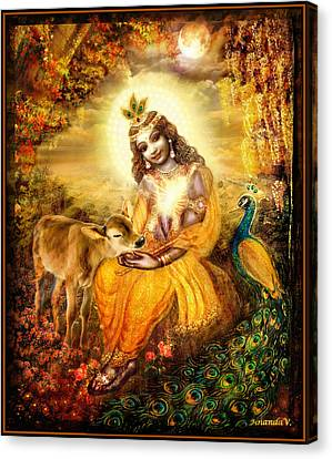 Krishna With The Calf Canvas Print