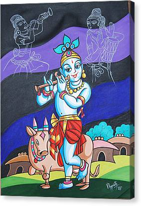 Canvas Print featuring the painting Krishna's Musical Harmony by Ragunath Venkatraman
