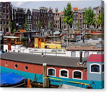 Kromme Waal Houseboats Canvas Print