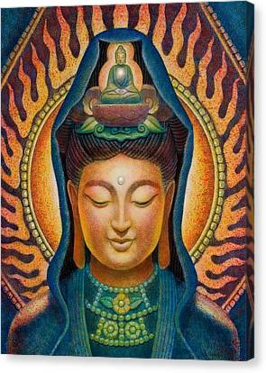 Kuan Yin Flame Canvas Print by Sue Halstenberg