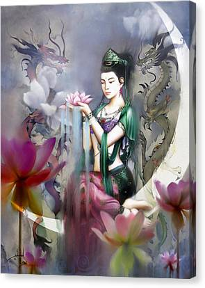 Kuan Yin Lotus Of Healing Canvas Print by Stephen Lucas