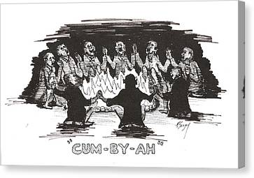 Canvas Print featuring the drawing Kumbaya by R  Allen Swezey