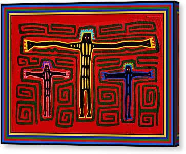Kuna Indian Folk Art Crucifix Canvas Print by Vagabond Folk Art - Virginia Vivier