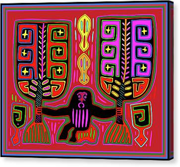 Canvas Print featuring the digital art Kuna Indian Mola Man With Fans by Vagabond Folk Art - Virginia Vivier