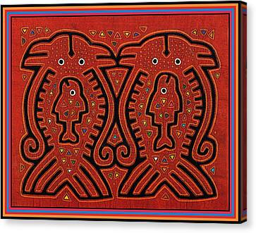 Kuna Indian Skate Fish Canvas Print by Vagabond Folk Art - Virginia Vivier