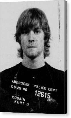 Kurt Cobain Mug Shot Vertical Black And Gray Grey Canvas Print by Tony Rubino