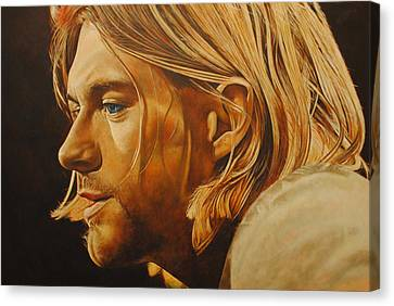 Canvas Print featuring the painting Kurt Cobain Unplugged by David Dunne